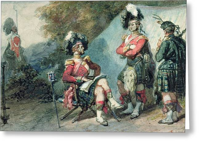 Highlander Greeting Cards - Officers Of The 79th Highlanders At Chobham Camp In 1853 Greeting Card by Eugene-Louis Lami