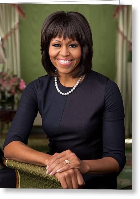 Michelle Obama Paintings Greeting Cards - Official portrait of First Lady Michelle Obama Greeting Card by Celestial Images