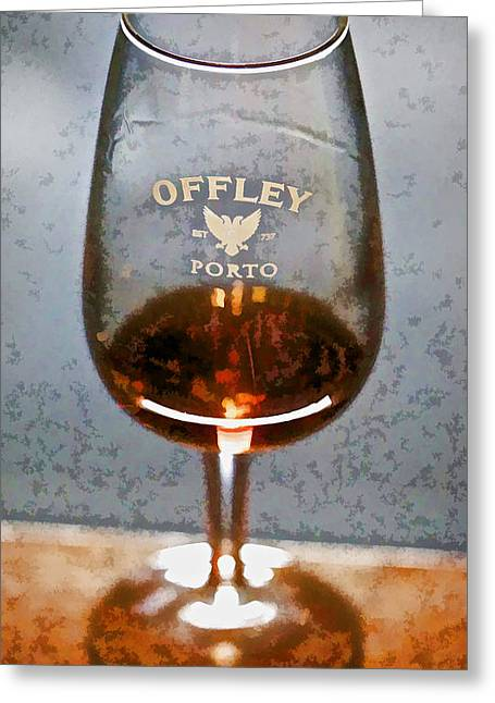 Wine Legs Greeting Cards - Offley Port Wine Glass Greeting Card by David Letts