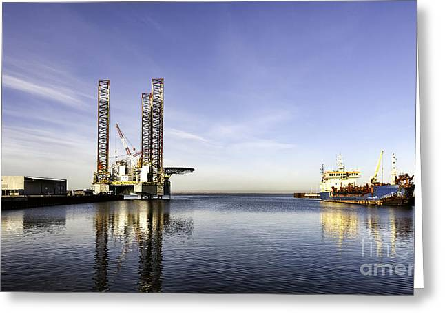 Sea Platform Greeting Cards - Offshore drilling rig in Esbjerg harbor Denmark Greeting Card by Frank Bach