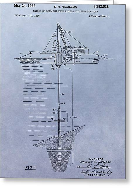 Sea Platform Greeting Cards - Offshore Oil Platform Patent Greeting Card by Dan Sproul