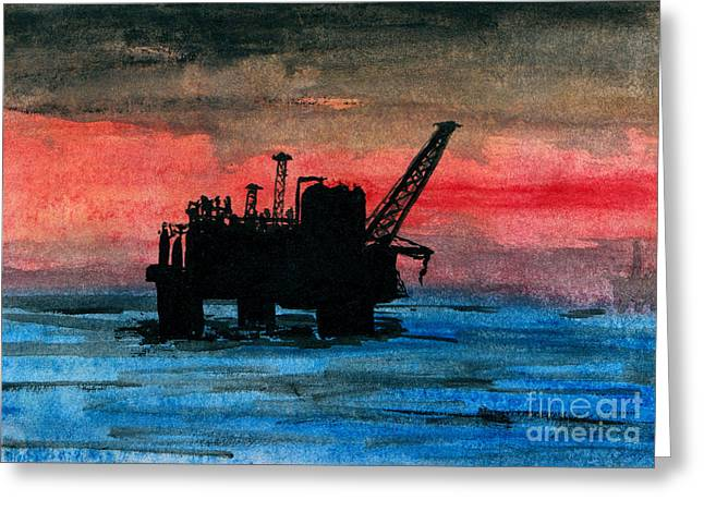 Sea Platform Paintings Greeting Cards - Offshore Oil Greeting Card by R Kyllo