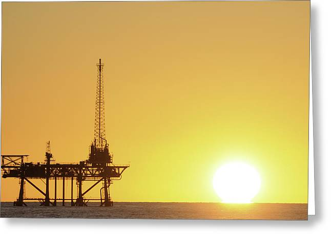 Sea Platform Greeting Cards - Offshore Oil Rig and Sun Greeting Card by Bradford Martin