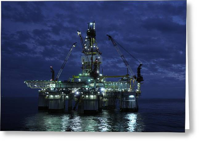 Sea Platform Greeting Cards - Offshore Oil Rig At Night Greeting Card by Bradford Martin
