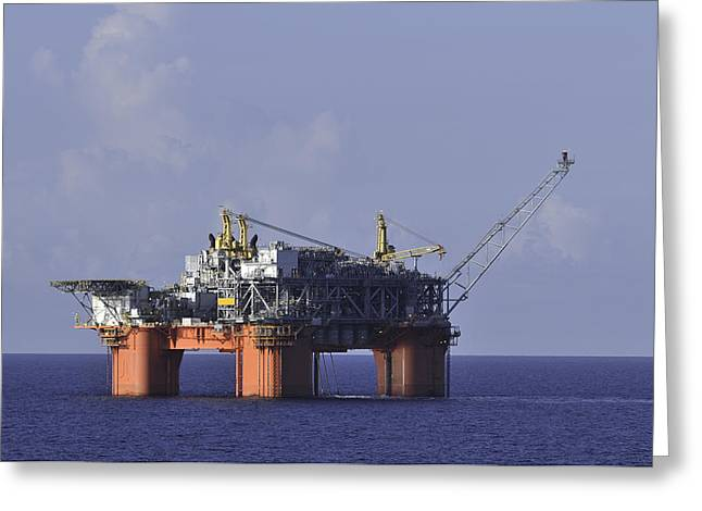 Sea Platform Greeting Cards - Offshore Production Platform Greeting Card by Bradford Martin