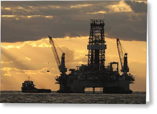 Oil Platform Greeting Cards - Offshore Rig At Dawn Greeting Card by Bradford Martin