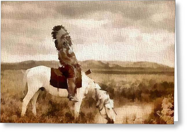 Horse Mixed Media Greeting Cards - Ogala Indian Man On Horse Greeting Card by Dan Sproul