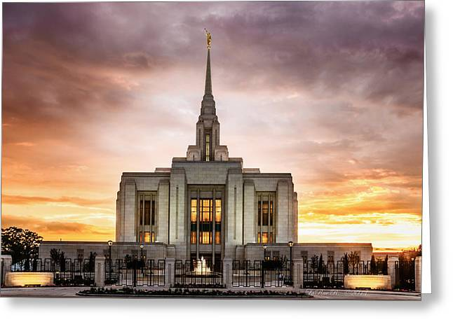 Lds Temples Greeting Cards - Ogden LDS Temple Sunset Greeting Card by La Rae  Roberts