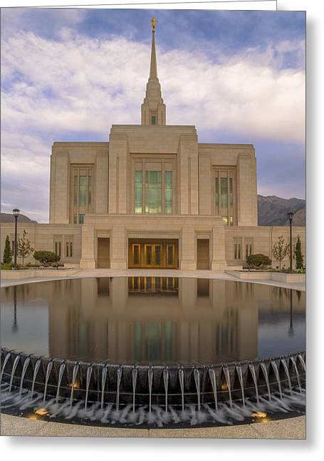 Saint Hope Greeting Cards - Ogden Temple Fountain Greeting Card by Dustin  LeFevre