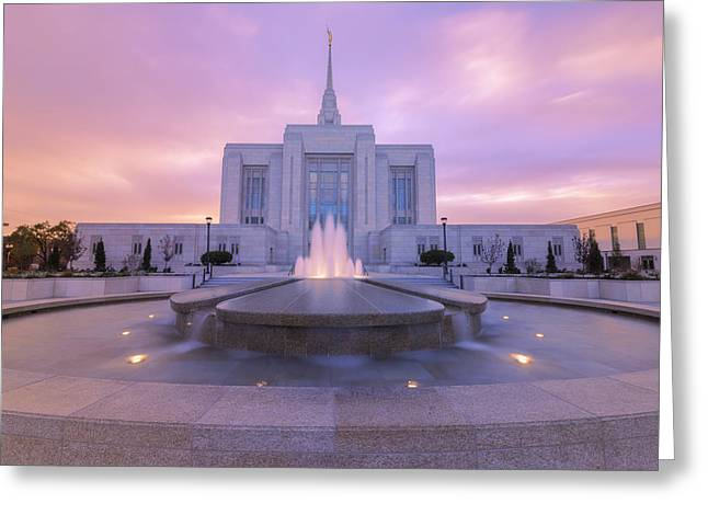 Evening Lights Greeting Cards - Ogden Temple I Greeting Card by Chad Dutson