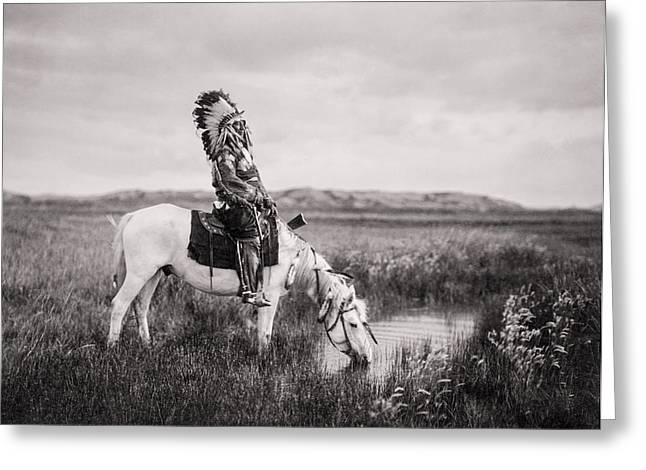 Costume Photographs Greeting Cards - Oglala Indian Man circa 1905 Greeting Card by Aged Pixel