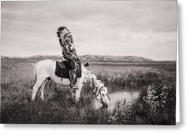 Oglala Indian Man circa 1905 Greeting Card by Aged Pixel