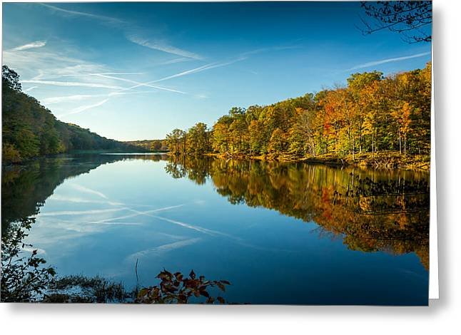 Indiana Autumn Greeting Cards - Ogle Lake Greeting Card by Ron Pate