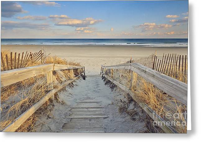 Afternoon Light Greeting Cards - Ogunquit Beach Boardwalk Greeting Card by Katherine Gendreau