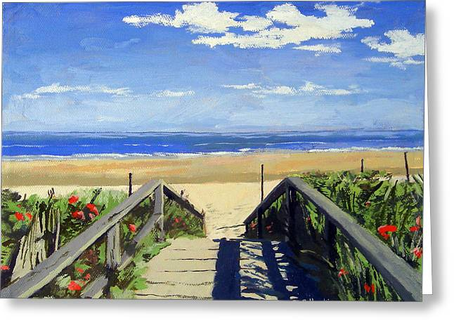 Nubble Lighthouse Paintings Greeting Cards - Ogunquit Beach Walkway Ogunquit Maine Greeting Card by Christine Hopkins