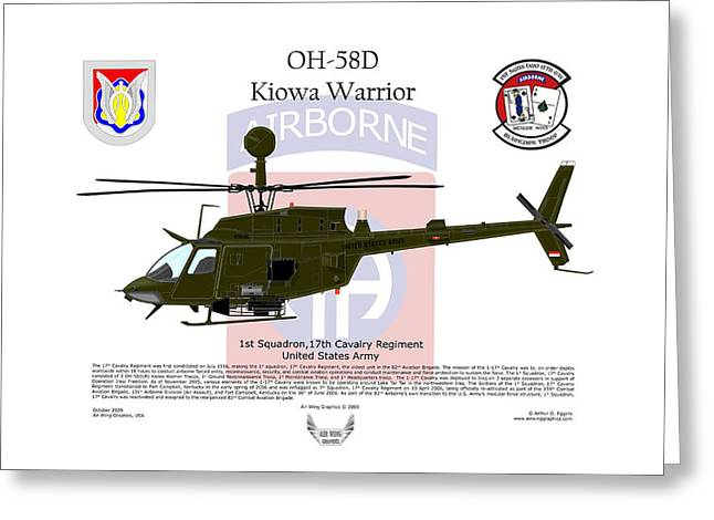 Squadron Graphics Greeting Cards - OH-58D Kiowa Warrior Greeting Card by Arthur Eggers