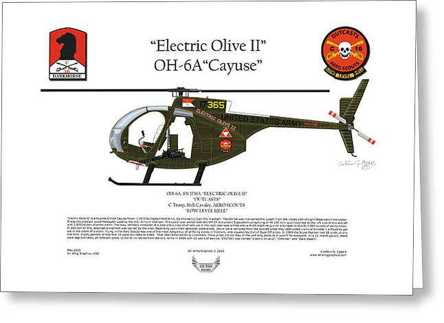 Aircraft Artwork Greeting Cards - OH-6A Electric Olive II Loach Greeting Card by Arthur Eggers