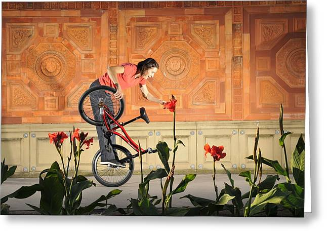 Oh A Pretty Flower - Funny Bmx Flatland Pic With Monika Hinz Greeting Card by Matthias Hauser