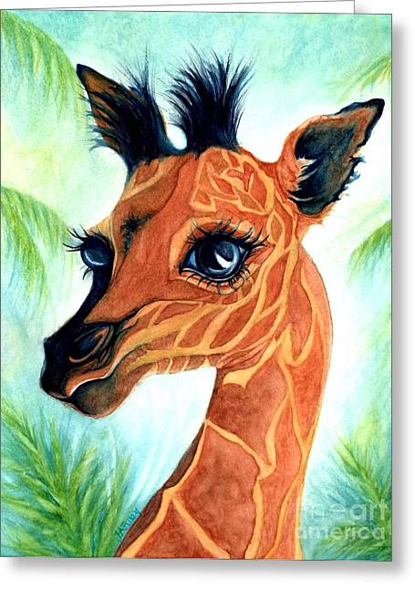 Oh Baby Giraffe Greeting Card by Janine Riley