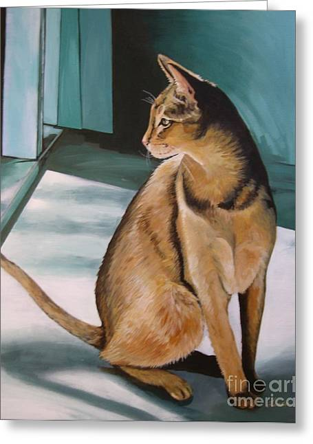 Classic Cats Greeting Cards - Oh Beautiful House Cat Greeting Card by J Linder