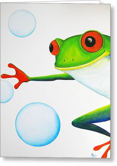 Oiyee Greeting Cards - Oh Bubbles Greeting Card by Oiyee  At Oystudio