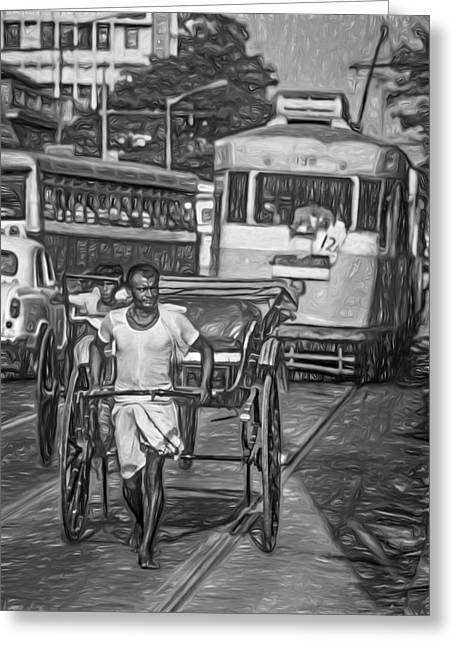 Congestion Greeting Cards - Oh Calcutta - Paint bw Greeting Card by Steve Harrington