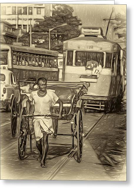 Congestion Greeting Cards - Oh Calcutta - Paint sepia Greeting Card by Steve Harrington