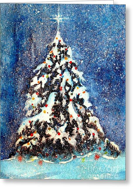 Star Of Bethlehem Paintings Greeting Cards - Oh Christmas Tree Greeting Card by Janine Riley