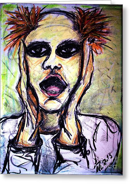 Hand On Face Greeting Cards - Oh horror Greeting Card by Nicole Philippi