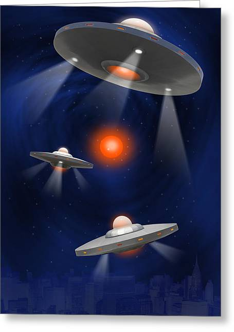 Space Alien Greeting Cards - Oh - I Believe 2 Greeting Card by Mike McGlothlen