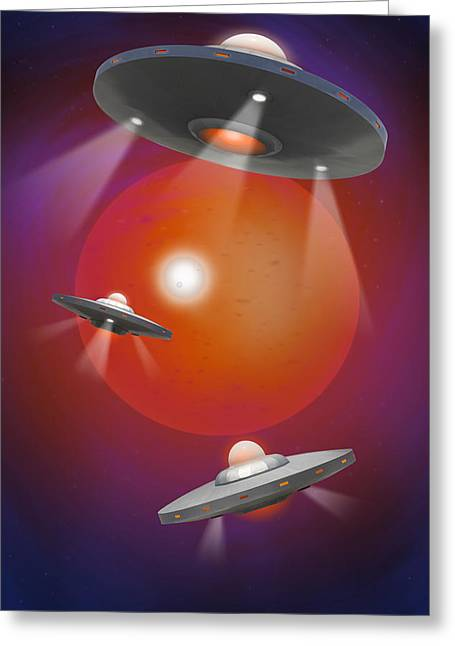 Space Alien Greeting Cards - Oh - I Believe 4 Greeting Card by Mike McGlothlen