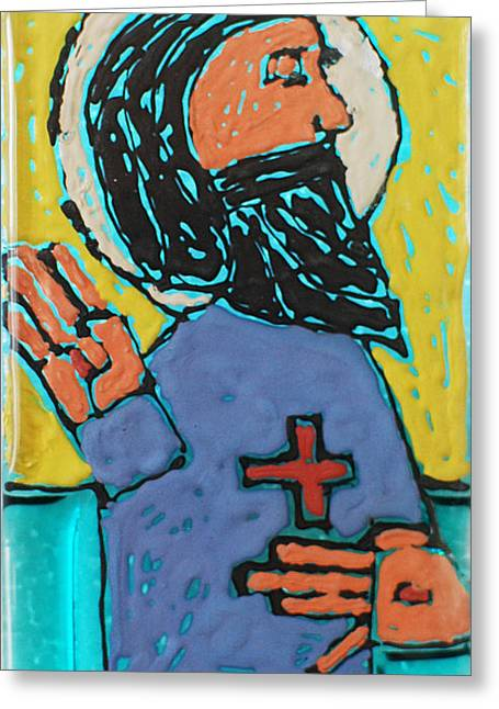 Jesus Glass Art Greeting Cards - Oh JESUS  Greeting Card by Art Mantia