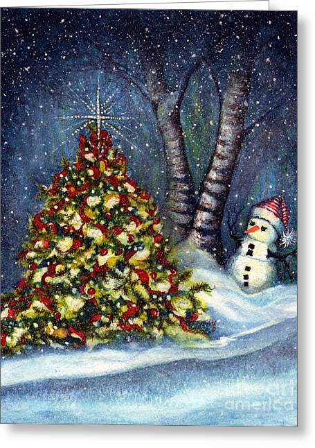 Winter Night Greeting Cards - Oh my. A Christmas tree Greeting Card by Janine Riley