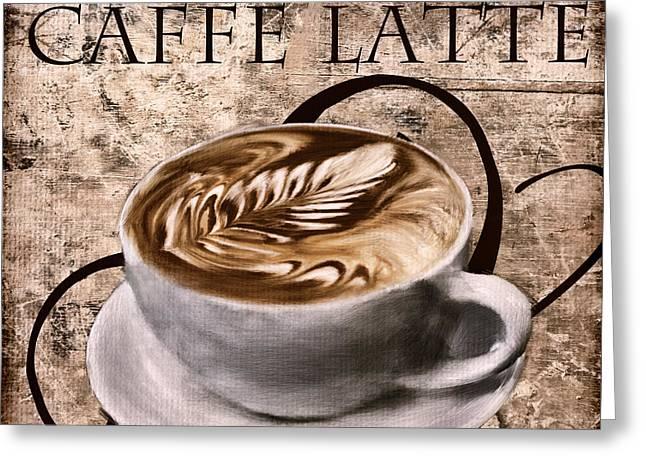Downtown Cafe Greeting Cards - Oh My Latte Greeting Card by Lourry Legarde