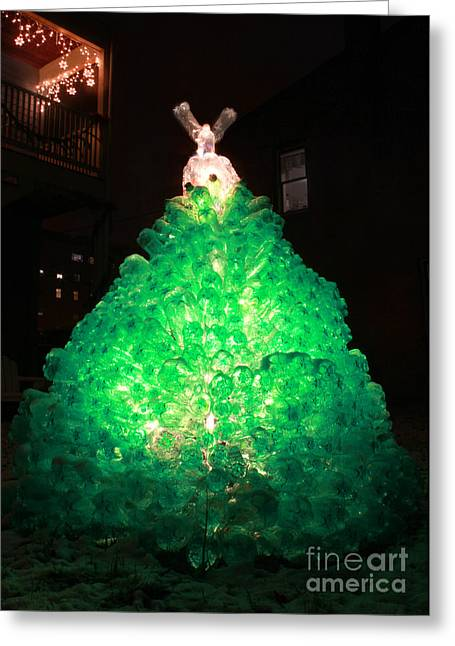 Christmas Art Sculptures Greeting Cards - Oh Tannen Bottle green plastic soda bottle Christmas tree card Greeting Card by Adam Long
