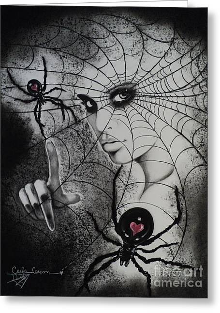 Web Pastels Greeting Cards - Oh What Tangled Webs We Weave Greeting Card by Carla Carson