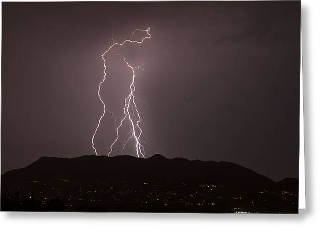 Arizona Lightning Greeting Cards - Oh Yeah Greeting Card by Cathy Franklin