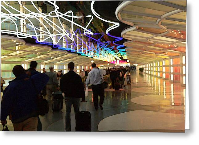 Airport Concourse Greeting Cards - Ohare shuffle Greeting Card by David Bearden