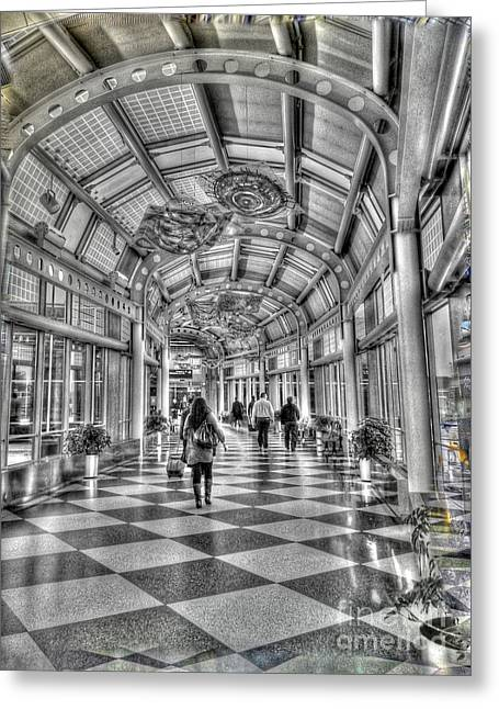 Airport Concourse Greeting Cards - Ohare Terminal Two Greeting Card by David Bearden