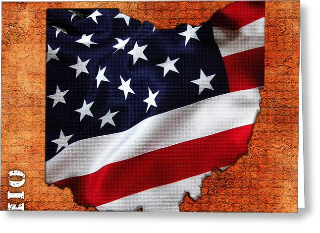 American Flag Art Greeting Cards - Ohio American Flag State Map Greeting Card by Marvin Blaine