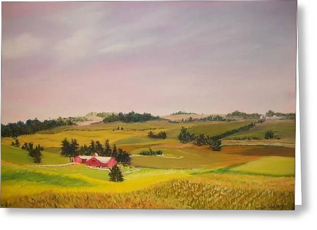Amish Farms Pastels Greeting Cards - Ohio Amish Farm Greeting Card by Dan Haley