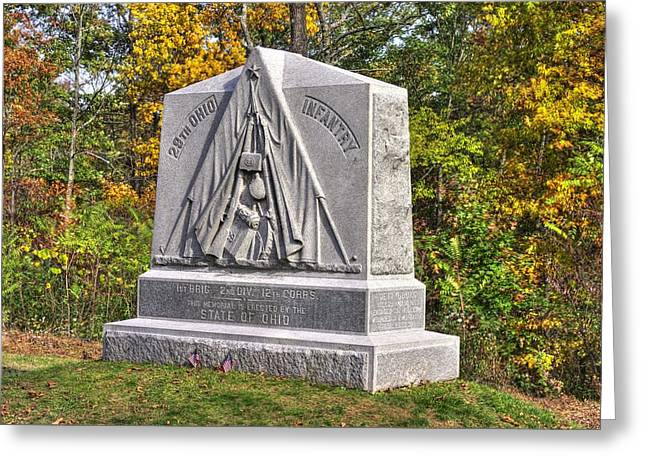 Third Day Of Battle Greeting Cards - Ohio at Gettysburg - 29th Ohio Volunteer Infantry Autumn Mid-Afternoon Culps Hill Greeting Card by Michael Mazaika