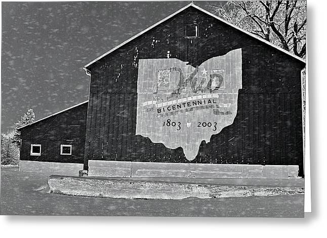 Christmas Eve Greeting Cards - Ohio Barn In Winter Greeting Card by Dan Sproul