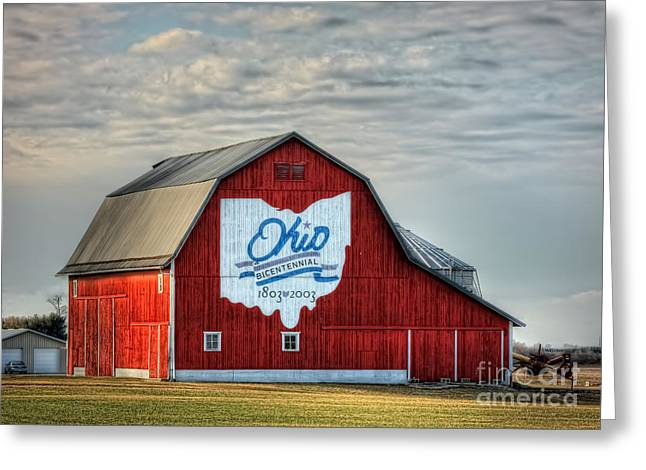 Ohio Red Greeting Cards - Ohio Bicentennial Barn -Van Wert County Greeting Card by Pamela Baker