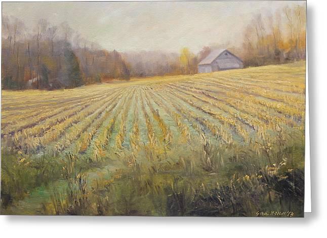 Indiana Corn Rows Greeting Cards - Ohio County Farm Indiana Greeting Card by Steve Haigh