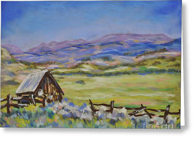 Old Cabins Pastels Greeting Cards - Ohio Creek Valley Greeting Card by Judy Sprague