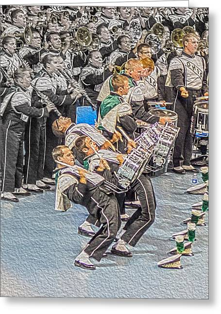 Spats Greeting Cards - Ohio Drum line Greeting Card by Tom Gari Gallery-Three-Photography
