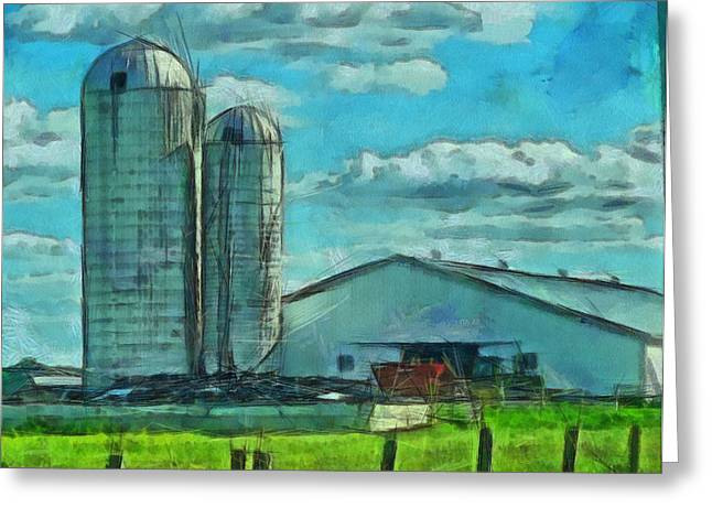 Repaired Paintings Greeting Cards - Ohio Farm Greeting Card by Dan Sproul