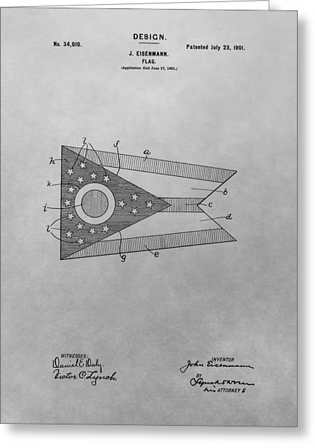 Flag Of Usa Drawings Greeting Cards - Ohio Flag Patent Drawing Greeting Card by Dan Sproul