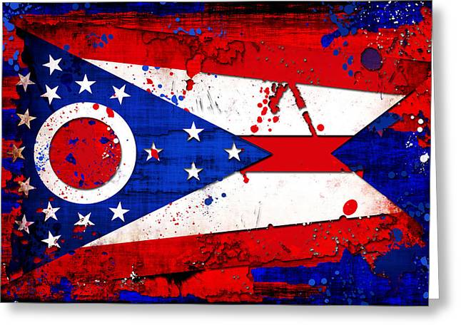 Splatter Paint Greeting Cards - Ohio Grunge and Splatter Flag Greeting Card by David G Paul
